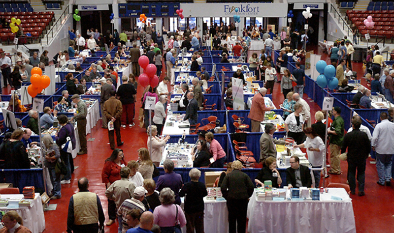 Hannah Reel/hreel@state-journal.com  Patrons browse the Kentucky Book Fair at the Frankfort Convention Center Saturday.