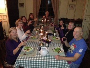 Writers enjoying a great meal during a writeaway.